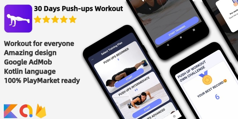 Push-ups challenge - Android  App Source Code