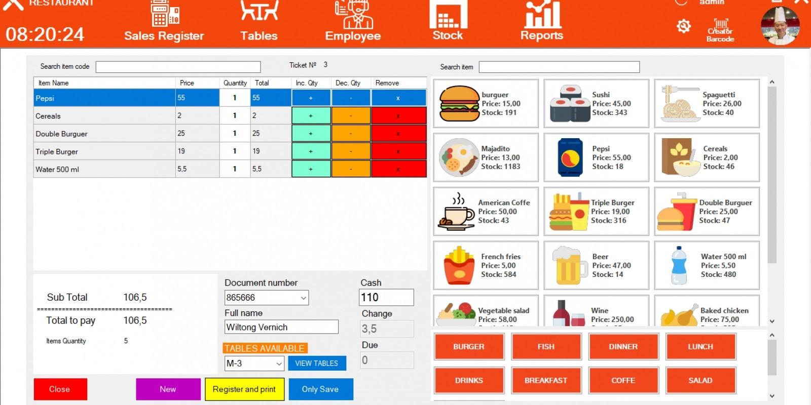 Restaurant Point Of Sale System .NET