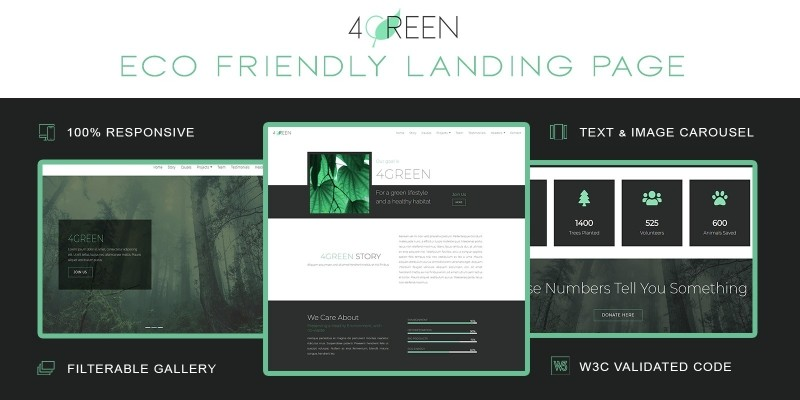 4Green - Eco Friendly  Bootstrap 4 Landing Page