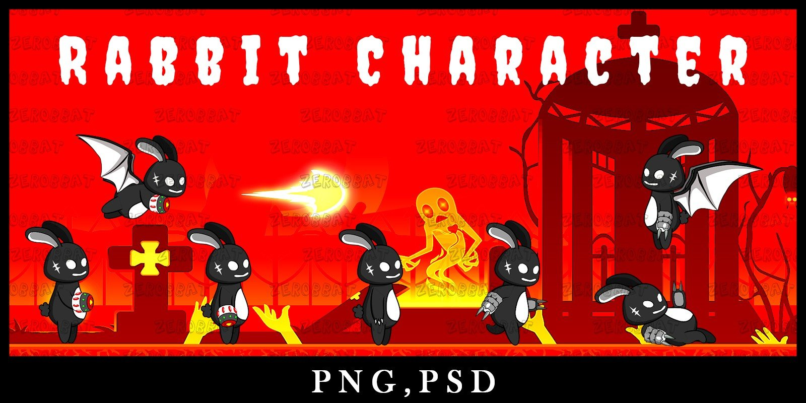 Game Asset Rabbit Shadow Character Sprite Sheet