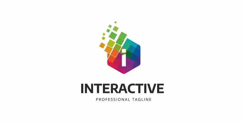 Interactive I Colorful Letter Logo