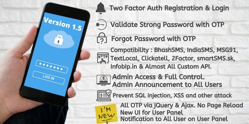 2FA Login SignUp via OTP And Many SMS Gateways