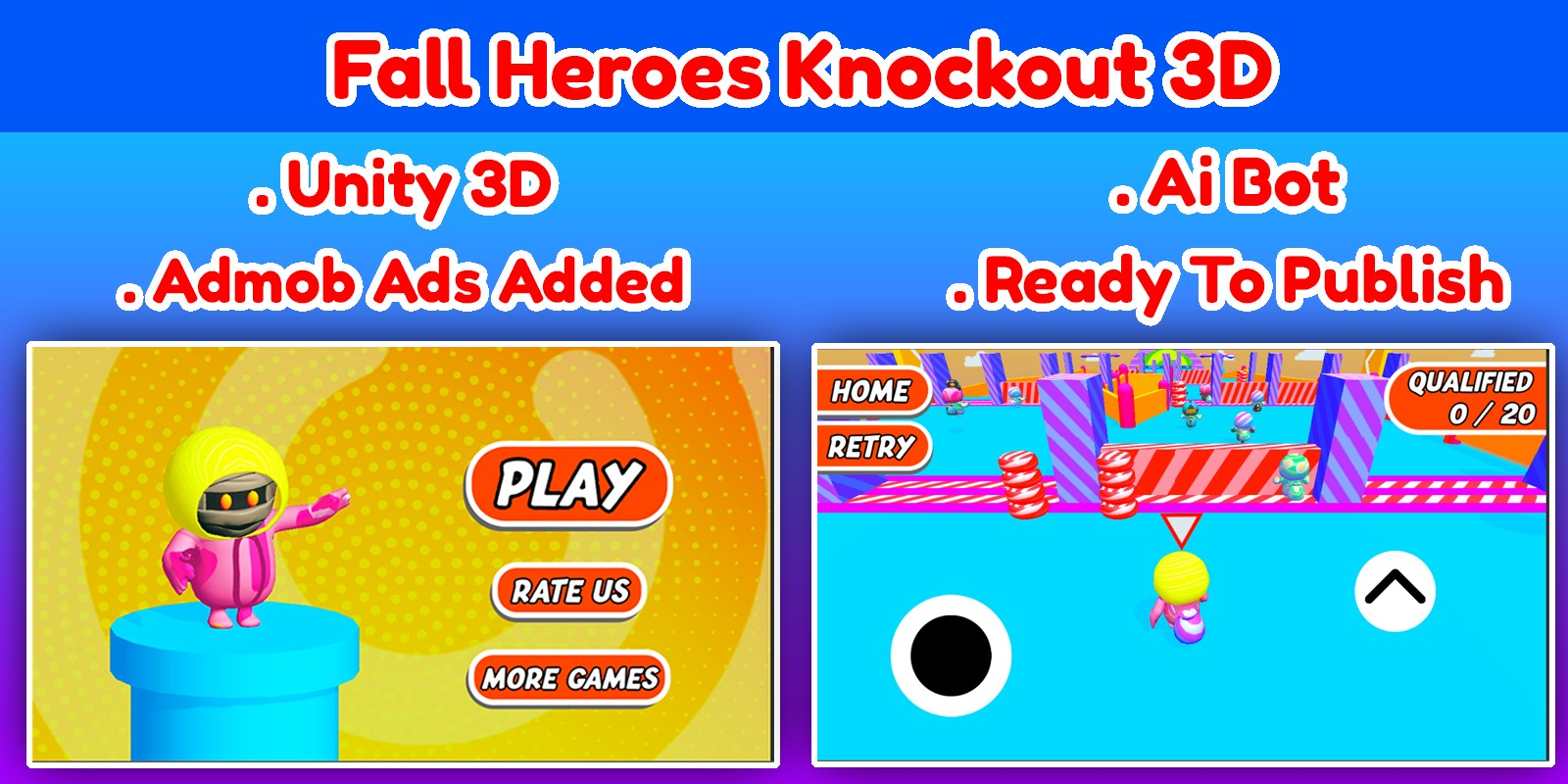 Fall Heroes Knockout 3D Game Unity Source Code
