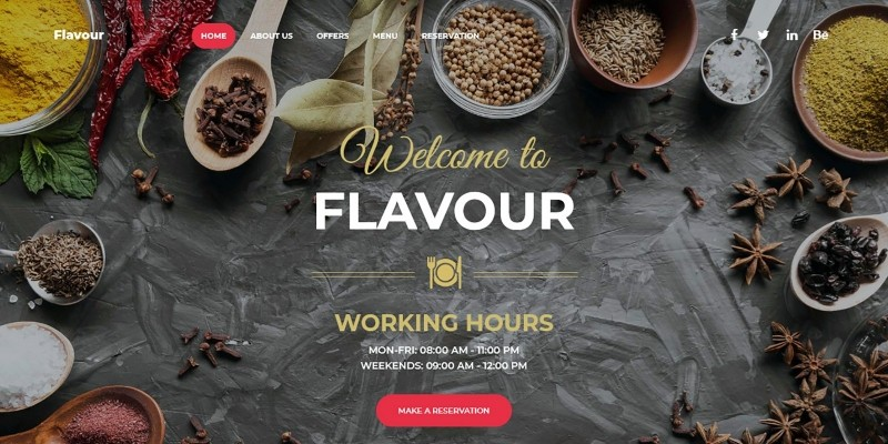 Flavour - Food And Drink Landing Page
