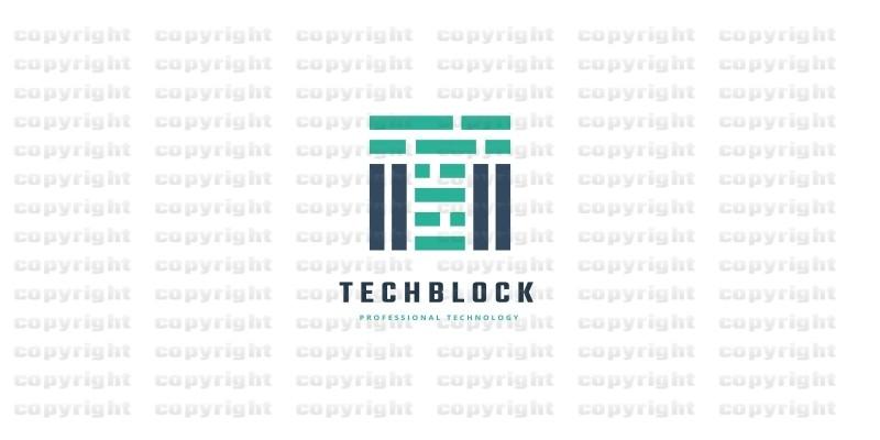 Technology Block Letter T Logo