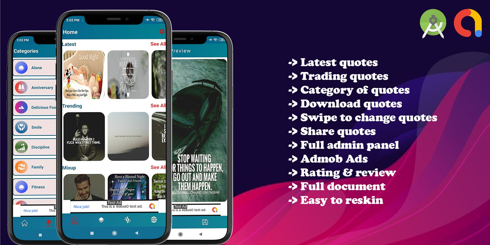 Quotes World App With Admin - Android App