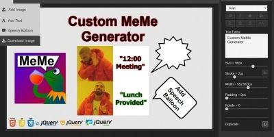 Custom Meme Generator Web App jQuery