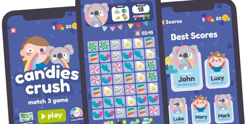 Candy Crush Match 3 Game Gui Assets