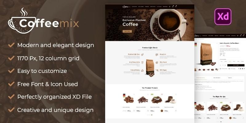 Coffeemix - Coffee And Tea Shop XD Template