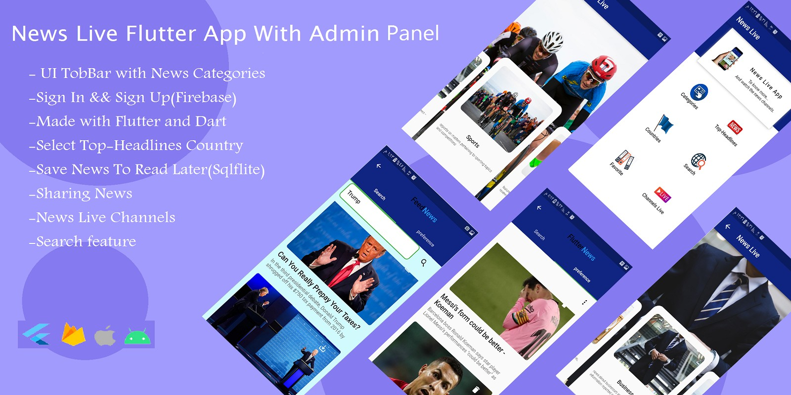 News Live Flutter App With Admin Panel