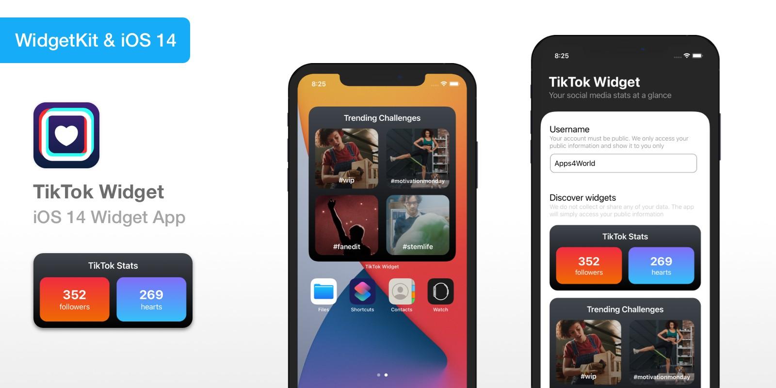 TikTok Widget - iOS 14 Widget App Source Code