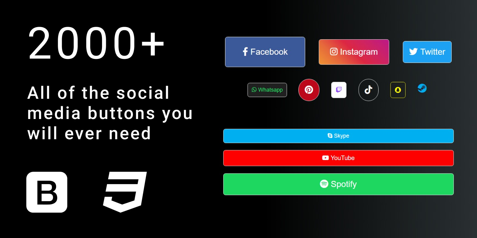 2000 Social Media Buttons CSS Bootstrap