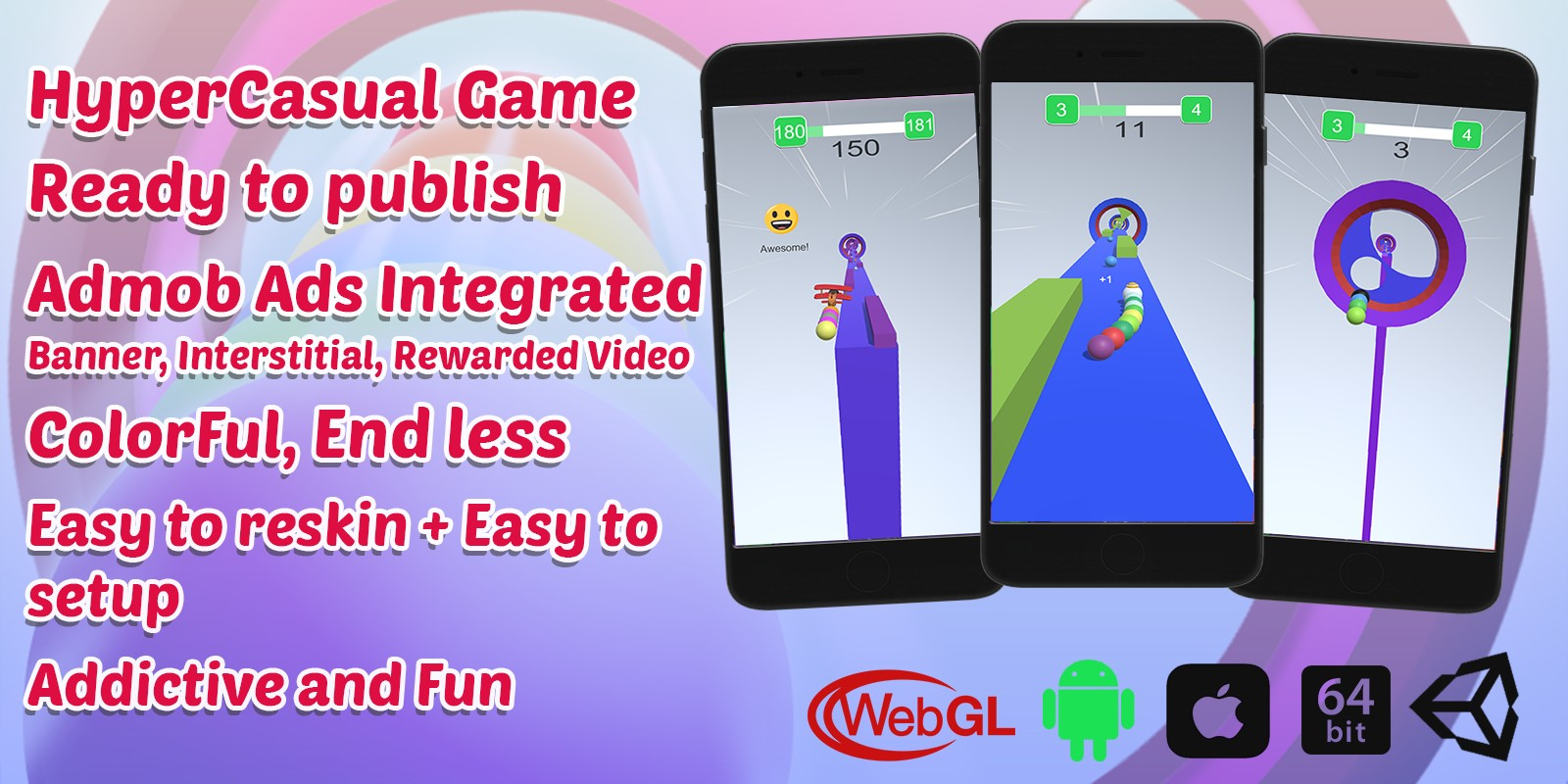 Rainbow Balls Game   Unity Casual Project With Admob Ad For Android And iOS