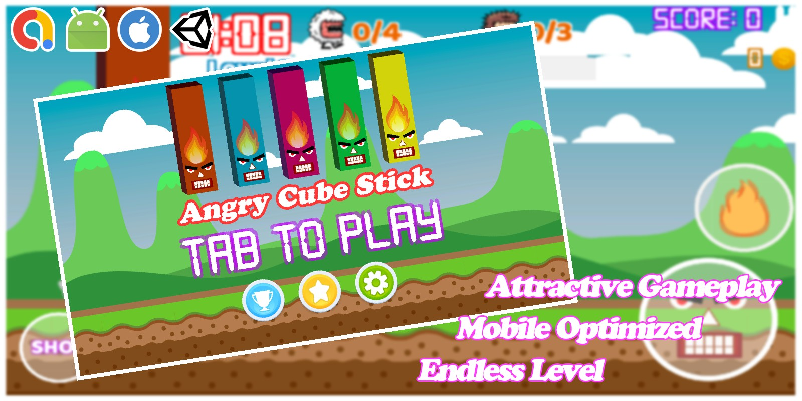 Angry Cube Sticks - Funny Unity Game Template