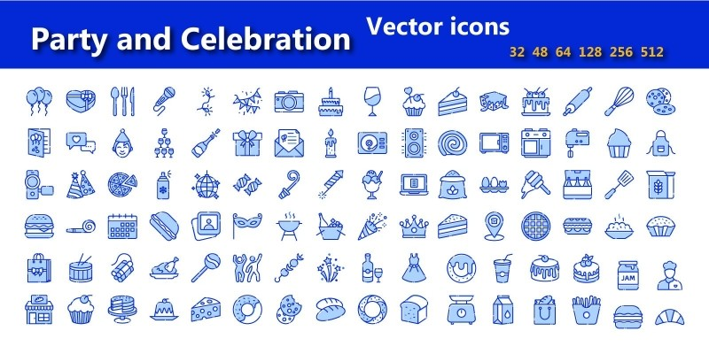 Party And Celebration Flat Vector Icons Pack