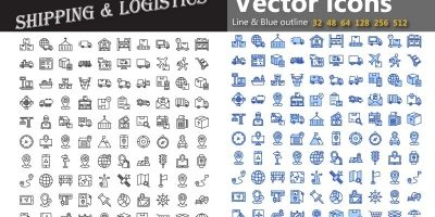 Shipping AndLogistics Vector Icons Pack