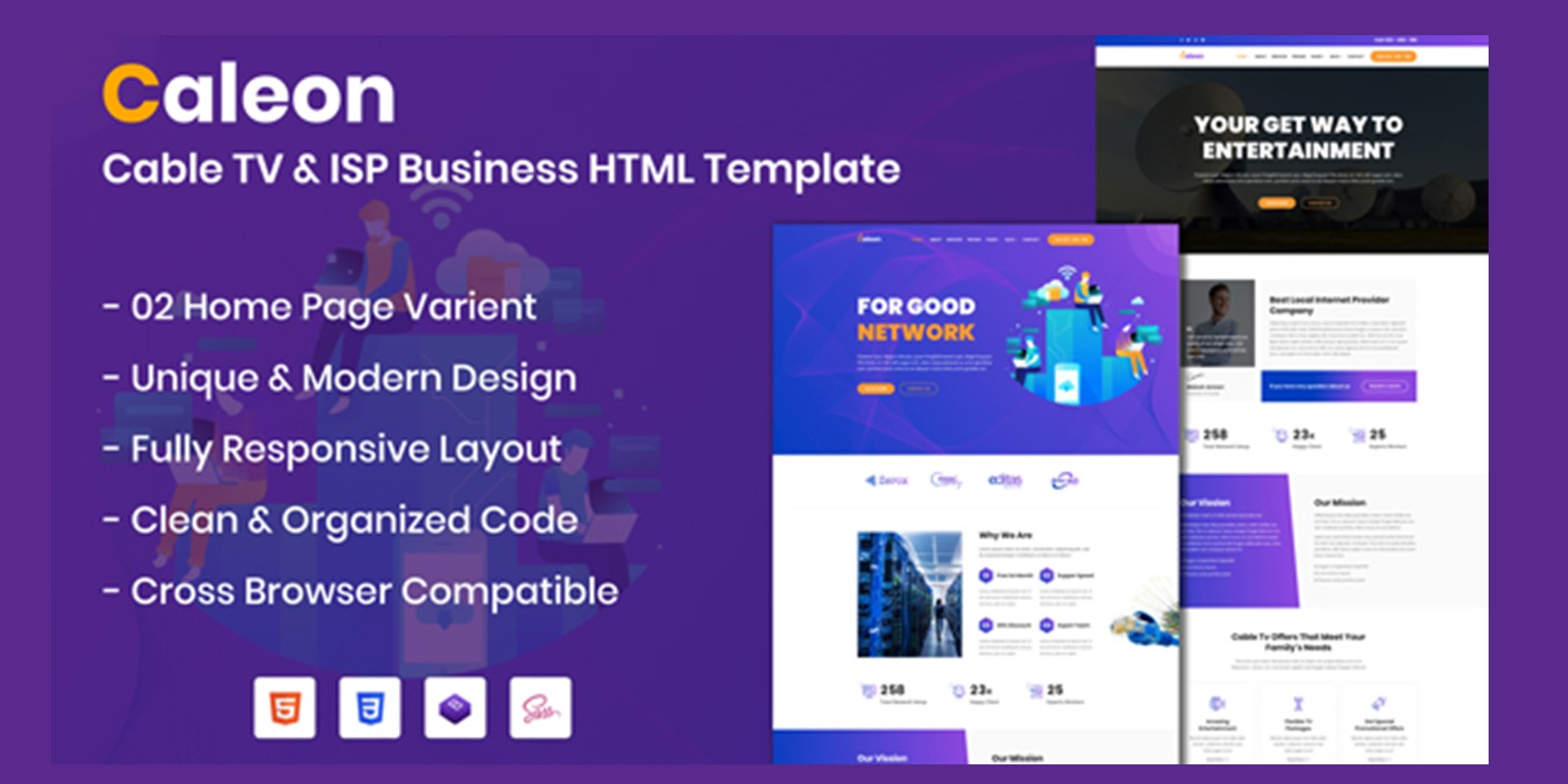 Caleon - Cable TV And ISP Business HTML Template