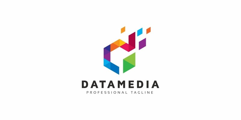 Data Media D Letter Colorful Logo