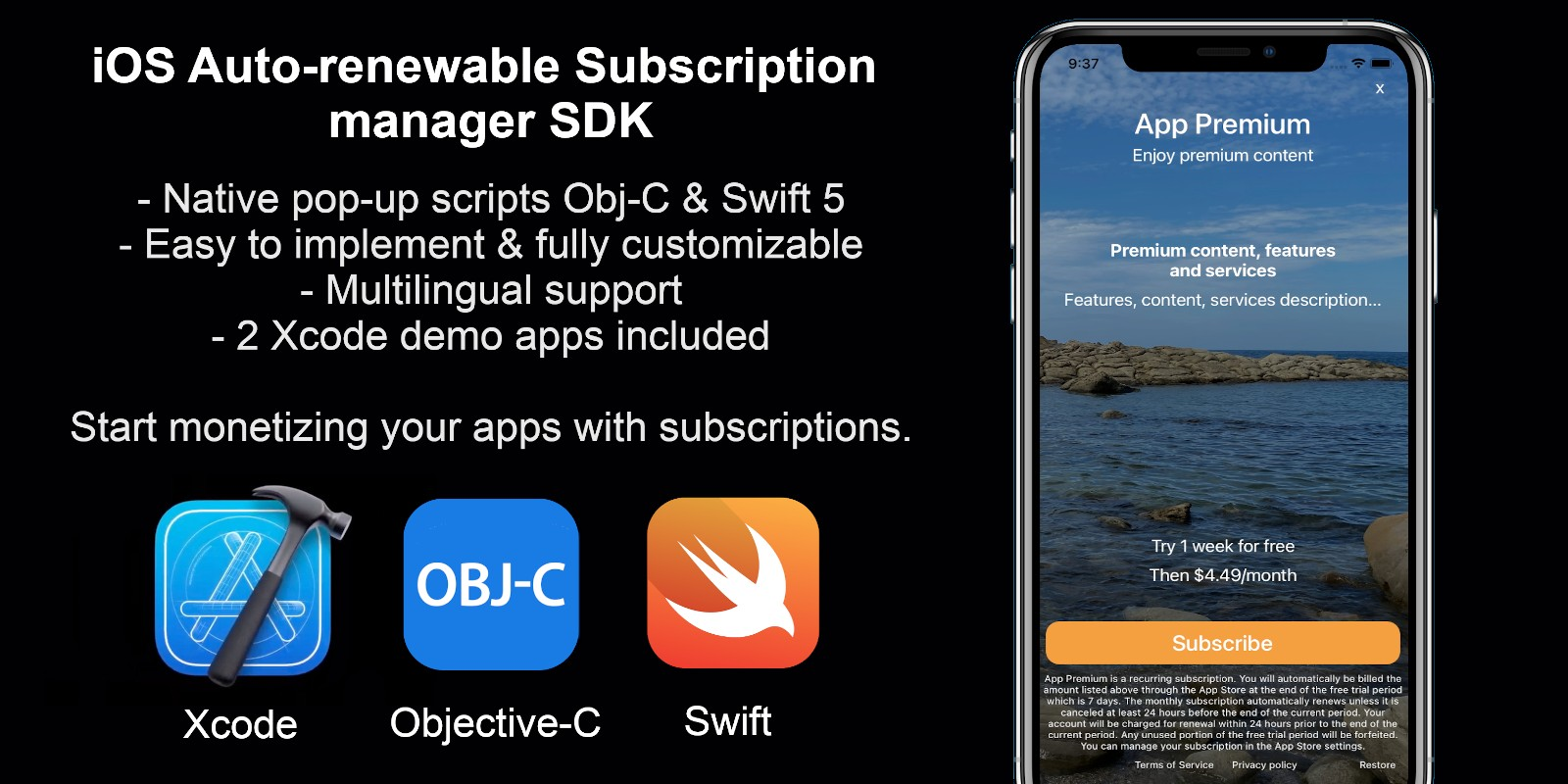 iOS Auto-renewable Subscription manager SDK