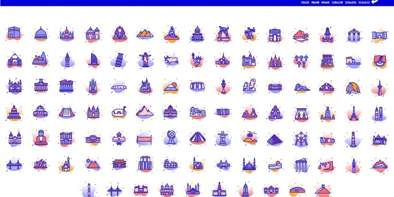 600+ Famous Landmarks Of World Vector Icons