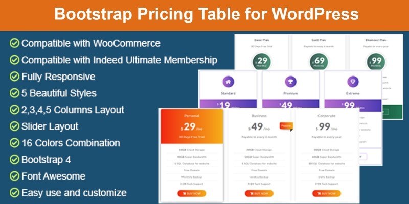 Bootstrap Pricing Table For WordPress