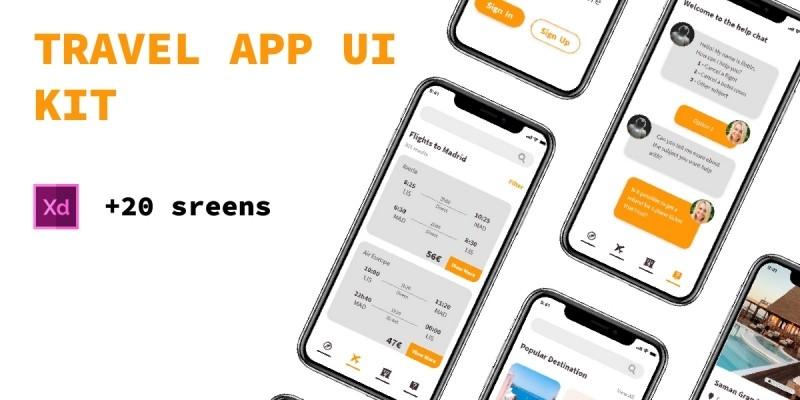 Travel App UI Kit XD Template