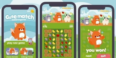Cute Animals Match 3 Game Gui Assets