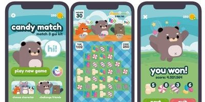 Candies Match 3 Game GUI Assets