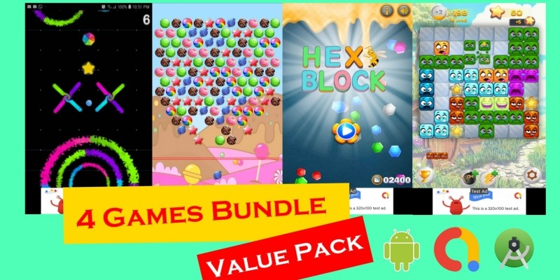 4 Games Bundle Cordova With Android Projects