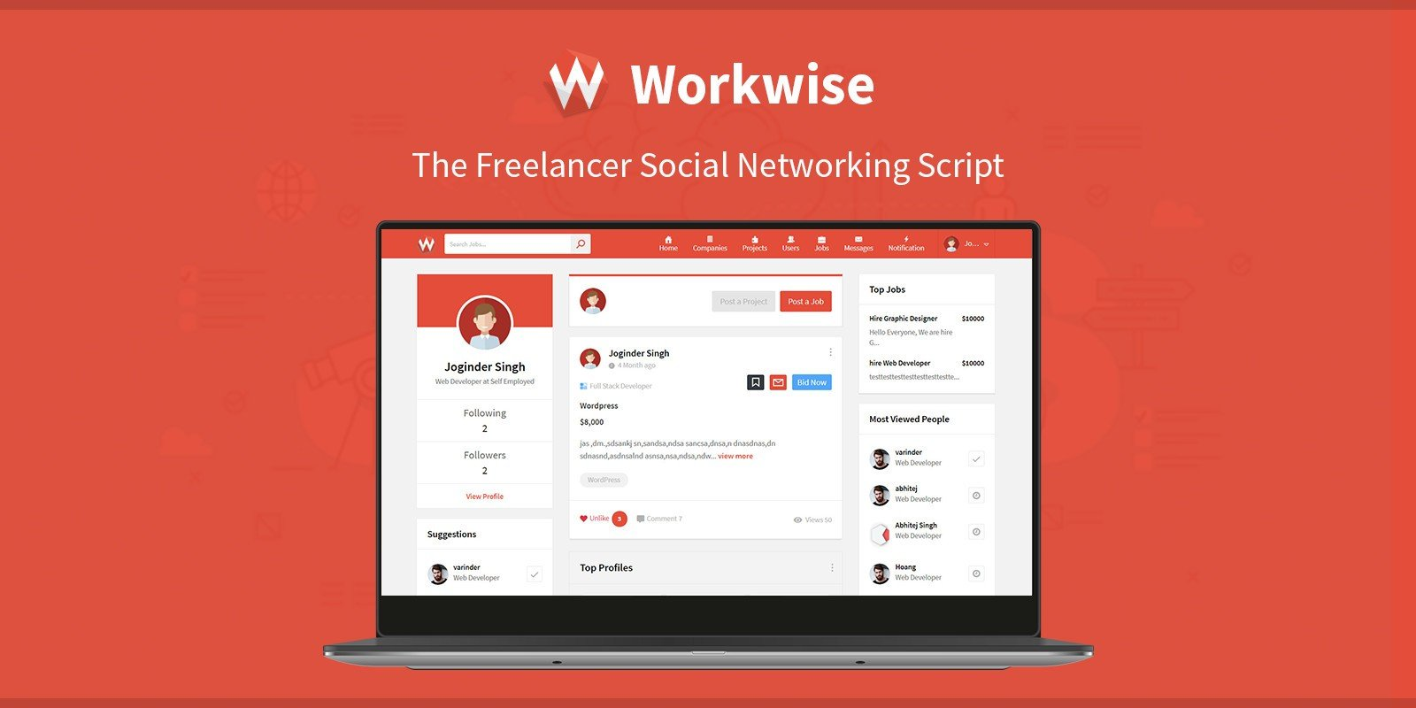 Workwise - The Freelancer Social Networking Script