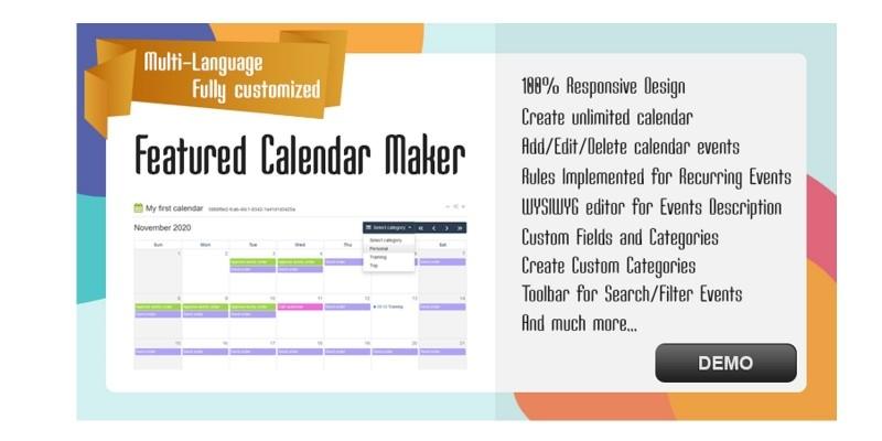 Featured Calendar Maker PHP Script