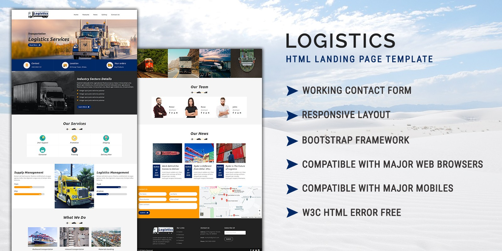 Logistics HTML Landing Page Template