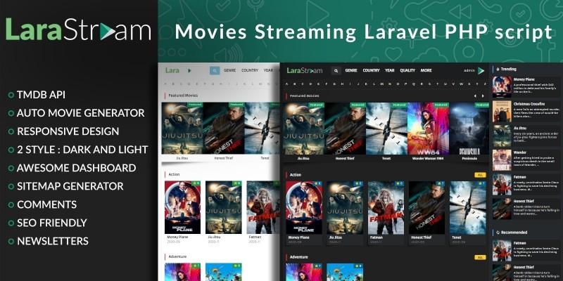 LaraStream - Movies Streaming Laravel PHP Script