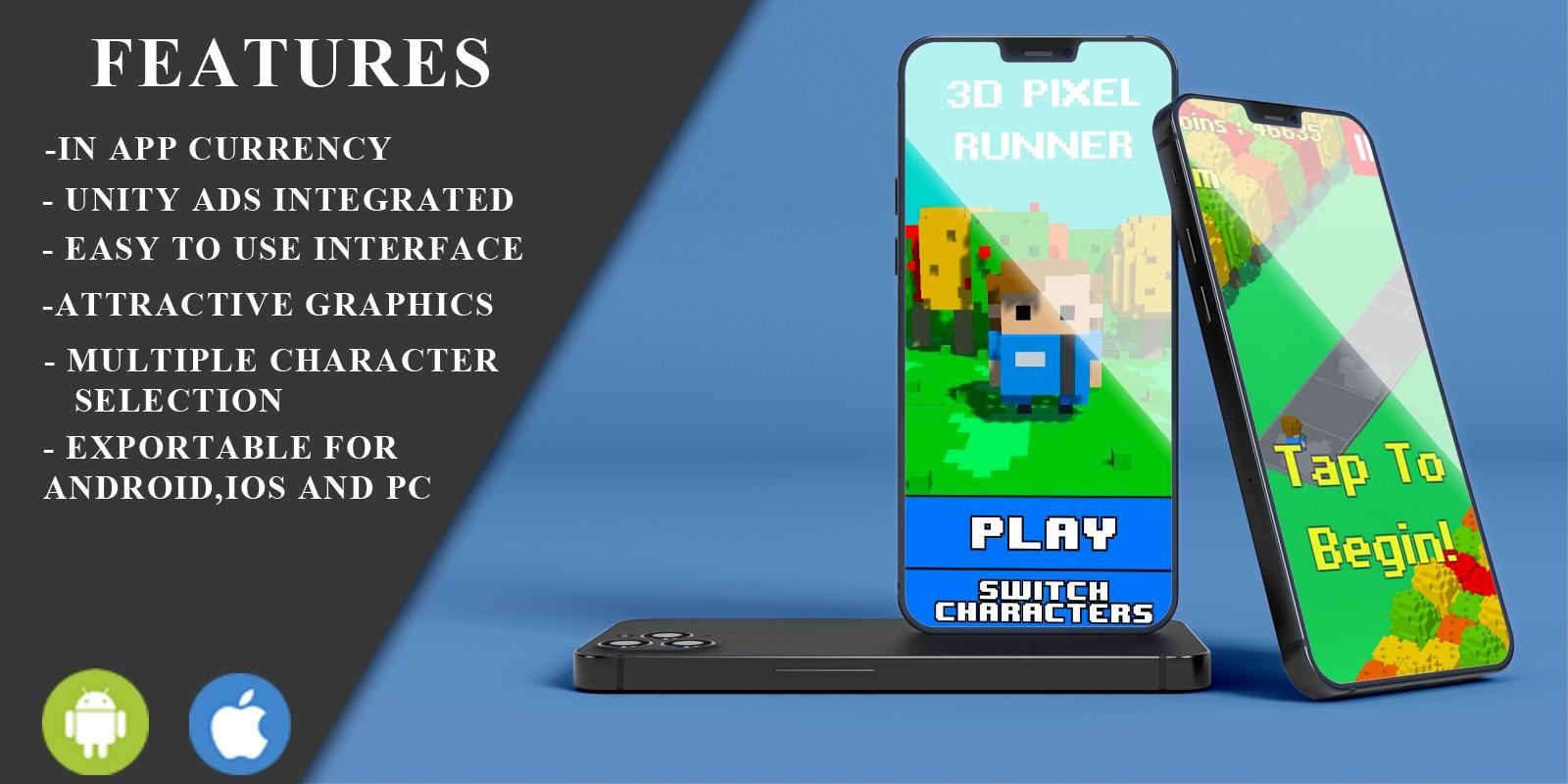 3D Pixel Ultimate Runner Unity Game