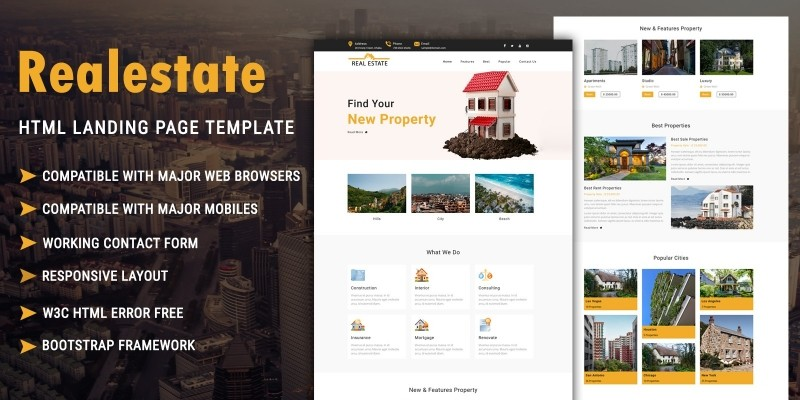Real Estate – HTML Landing Page Template