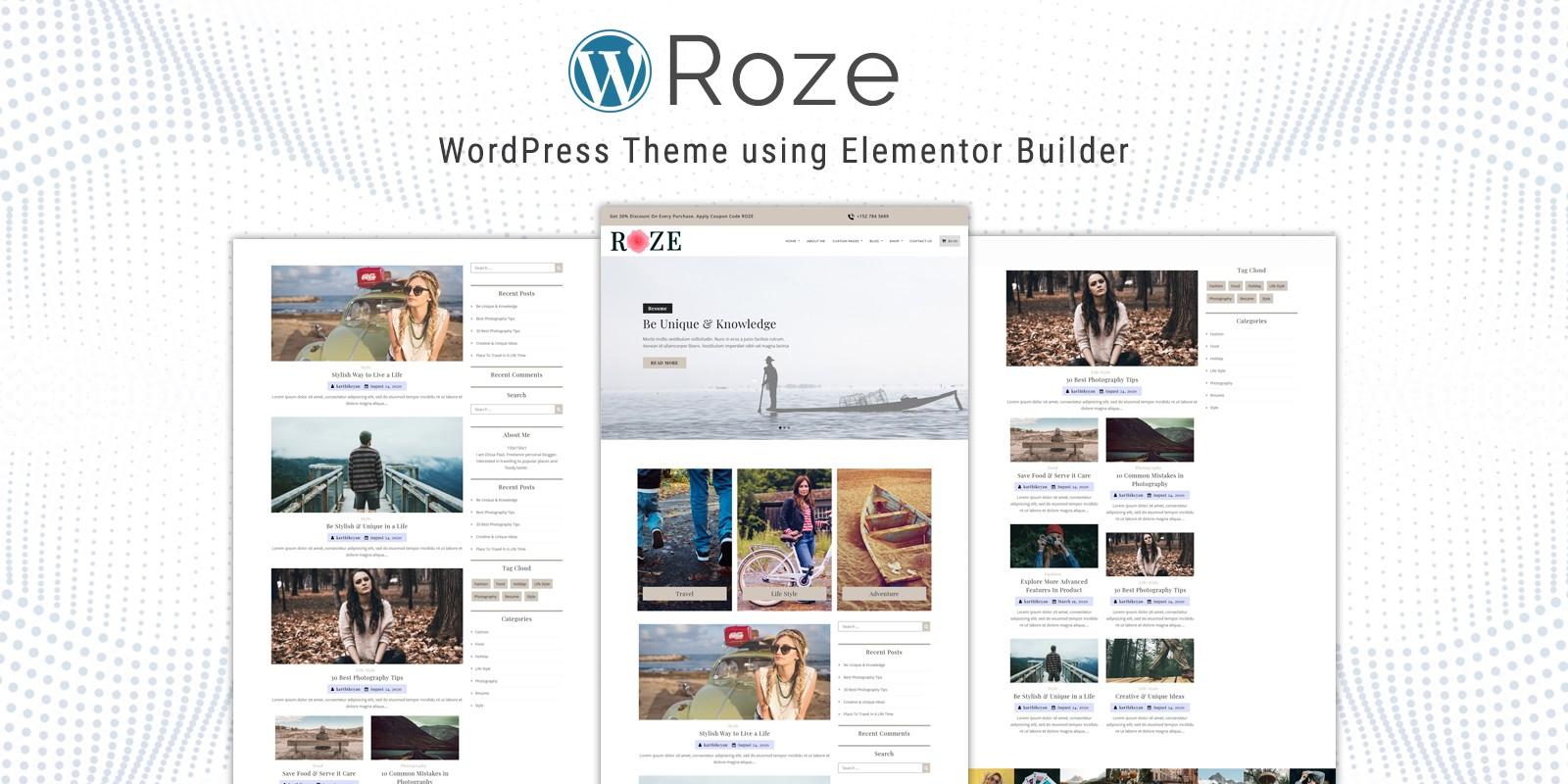 Roze - WordPress Theme using Elementor Builder