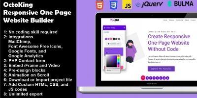 OctoKing - Responsive One Page Website Builder