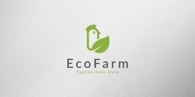 Eco Chicken Farm Logo Template