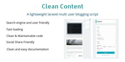 Clean Content Laravel 8 Multi User Blogging Script