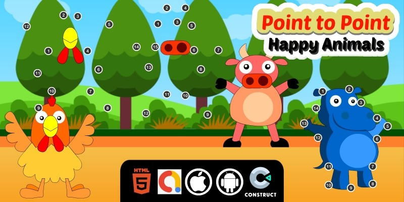 Point to Point Happy Animals Construct 3 Game