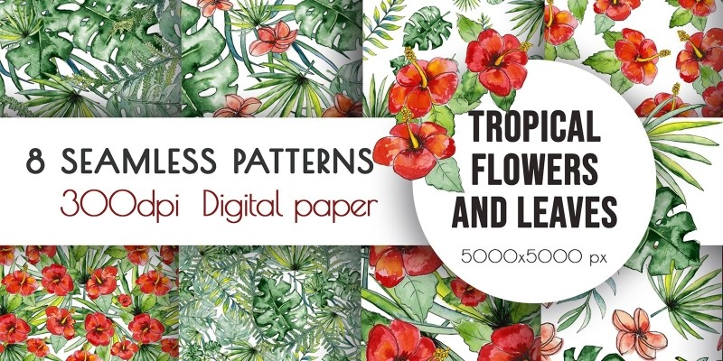Watercolor Tropical Flowers Seamless Pattern