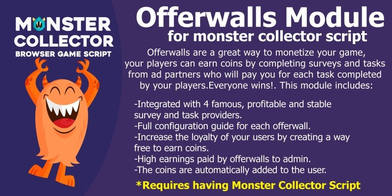 OfferWalls Module For Monster Collector Script