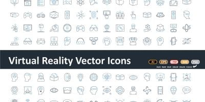 Virtual Reality Flat inside vector icon