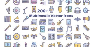 Multidiame and Music Vector Icons