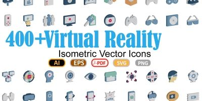 100 Virtual Reality Flat Inside Vector icons