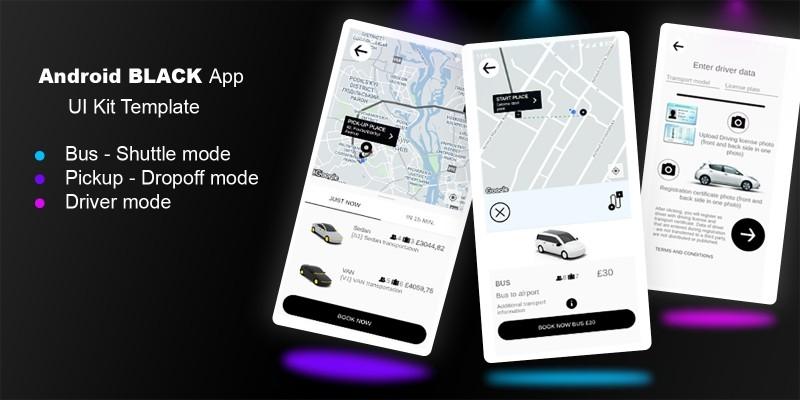 Black Taxi App UI Kit