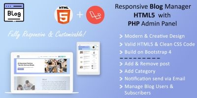 Responsive Blog Manager - HTML5 With PHP Laravel