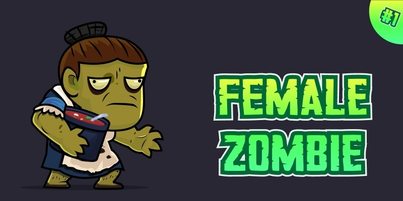 Female Zombie 2D Game Character Sprites 01