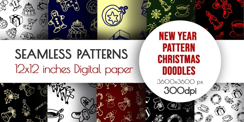 Doodle New Year Winter Seamless Pattern