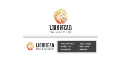 Strong Lion Head Logo